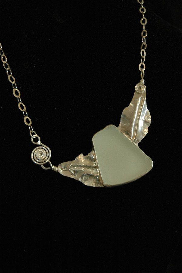 sea glass and sterling silver pendant alternate view
