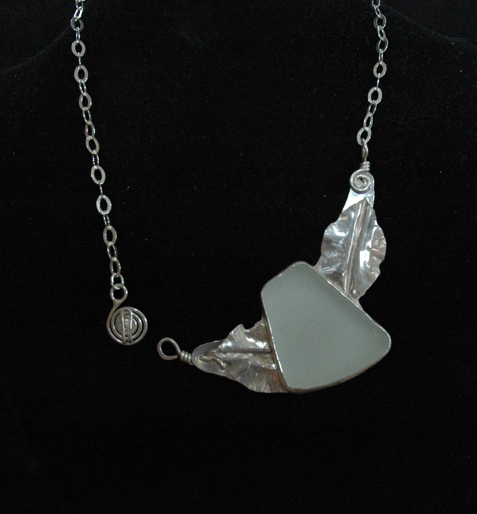 sea glass leaf necklace clasp