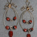 Lady-Bug and Carnelian Earrings