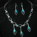 Turquoise and Argentium Silver Necklace & Earrings Set