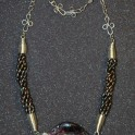 Mosaic Mother of Pearl Bead with Pearls Necklace
