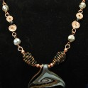 Glass and Copper Whale-tail Necklace