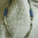 Viking Knit Combo Necklace Silver with Blue Swarovski Crystals