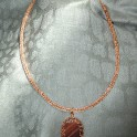 Viking Knit Copper Necklace with Tiger-Eye Pendant