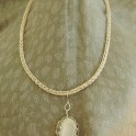 Viking Knit Necklace Silver with Gray Moonstone