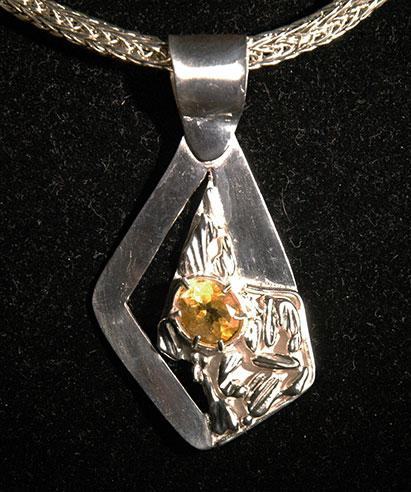 Citrine Gemstone with Silver Pendant