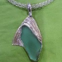 Sea Glass on Sterling Silver Pendant