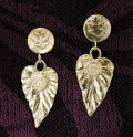 Precious Metal Clay Leaf Earrings with Diamond CZ