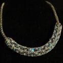 Viking Knit choker with blue Swarovski bicone beads